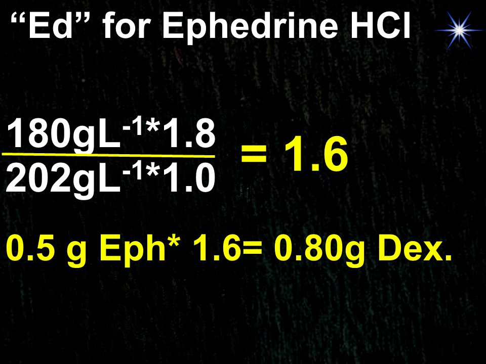 = 1.6 180gL-1*1.8 202gL-1*1.0 Ed for Ephedrine HCl