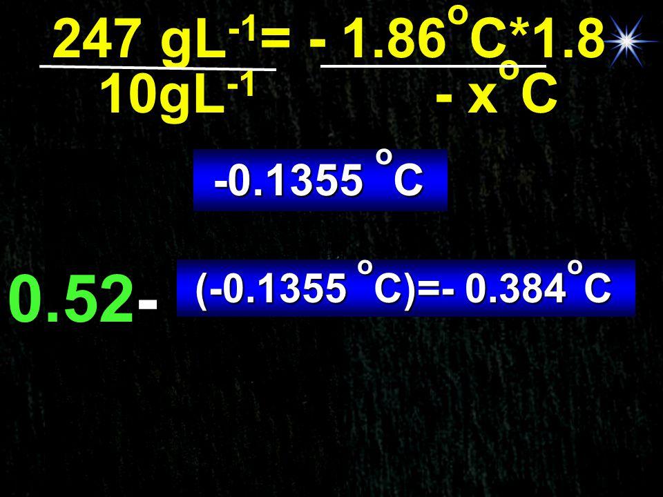 247 gL-1= - 1.86oC*1.8 10gL-1 - xoC -0.1355 oC 0.52- (-0.1355 oC)=- 0.384oC