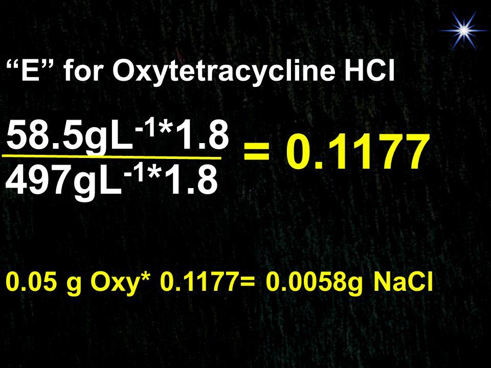 = 0.1177 58.5gL-1*1.8 497gL-1*1.8 E for Oxytetracycline HCl