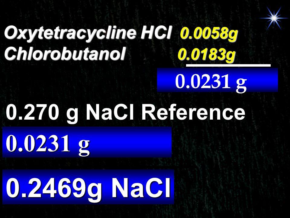 Oxytetracycline HCl 0.0058g Chlorobutanol 0.0183g