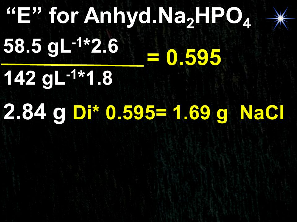 E for Anhyd.Na2HPO4 = 0.595 2.84 g Di* 0.595= 1.69 g NaCl