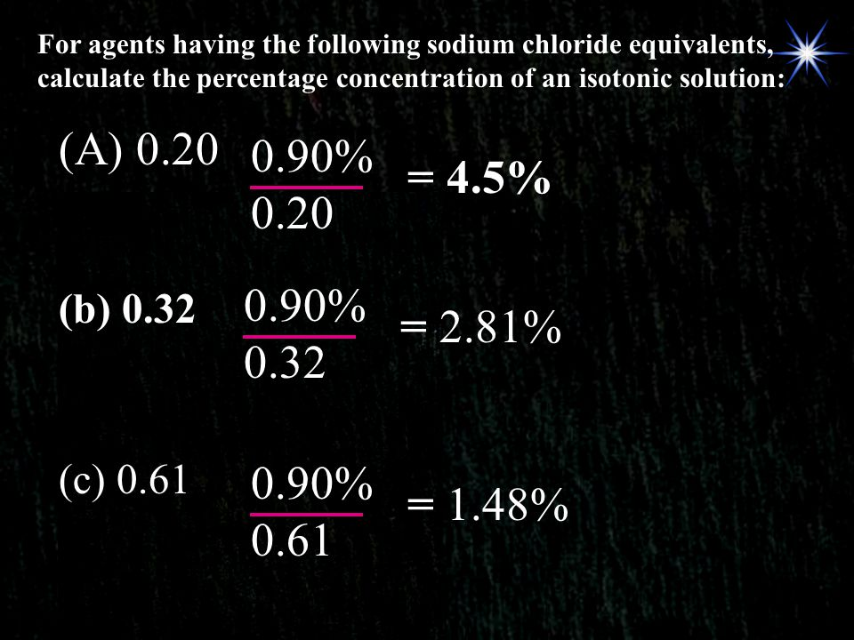 For agents having the following sodium chloride equivalents, calculate the percentage concentration of an isotonic solution: