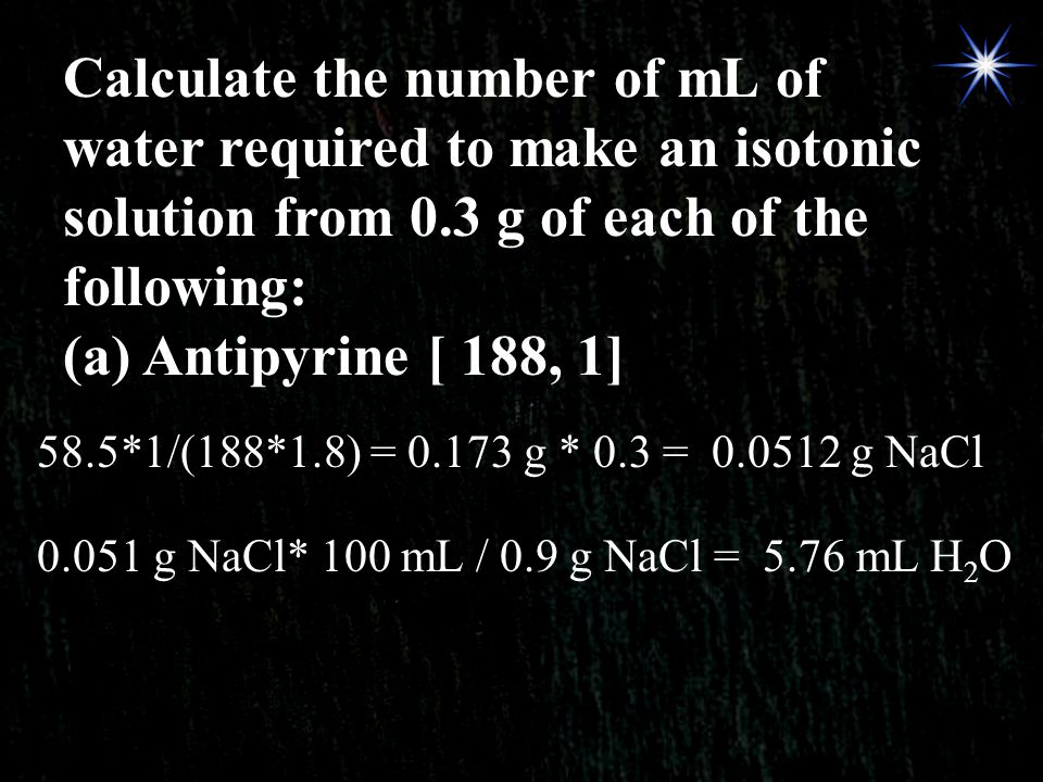 Calculate the number of mL of water required to make an isotonic solution from 0.3 g of each of the following: