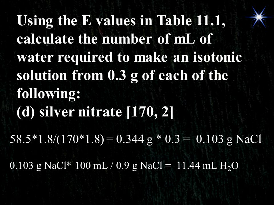 Using the E values in Table 11