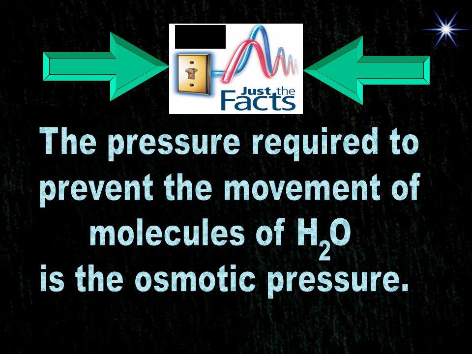 The pressure required to prevent the movement of molecules of H O