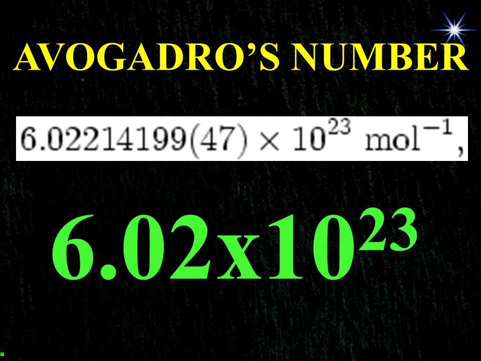 AVOGADRO'S NUMBER 6.02x1023