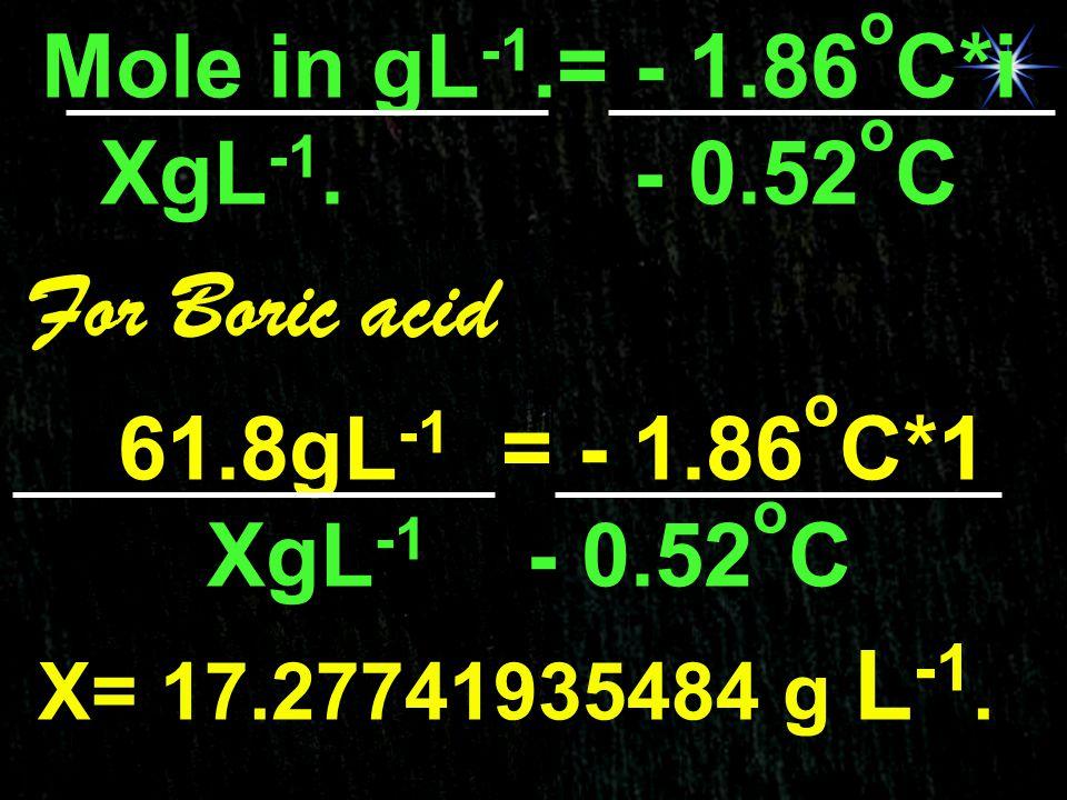 For Boric acid Mole in gL-1.= - 1.86oC*i XgL-1. - 0.52oC