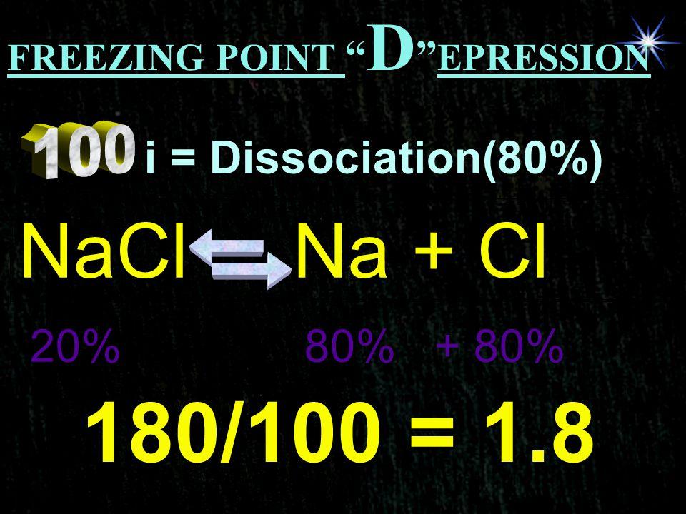 180/100 = 1.8 NaCl Na + Cl i = Dissociation(80%) 20% 80% + 80%