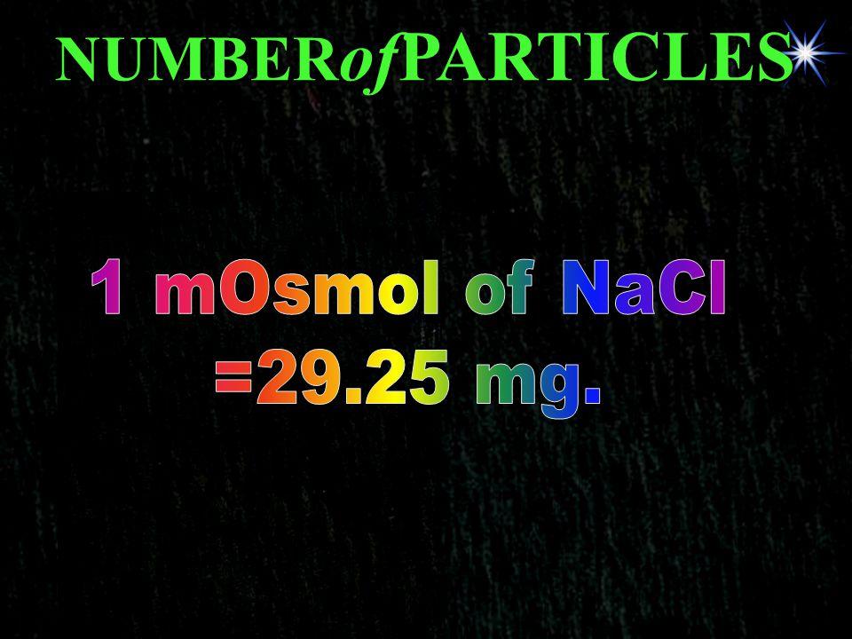 NUMBERofPARTICLES 1 mOsmol of NaCl =29.25 mg.