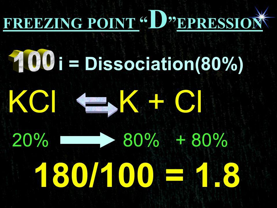 180/100 = 1.8 KCl K + Cl i = Dissociation(80%) 20% 80% + 80%