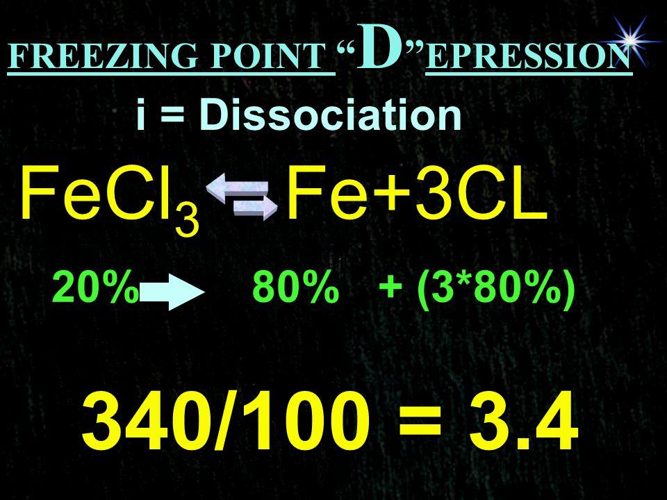 340/100 = 3.4 FeCl3 Fe+3CL i = Dissociation 20% 80% + (3*80%)