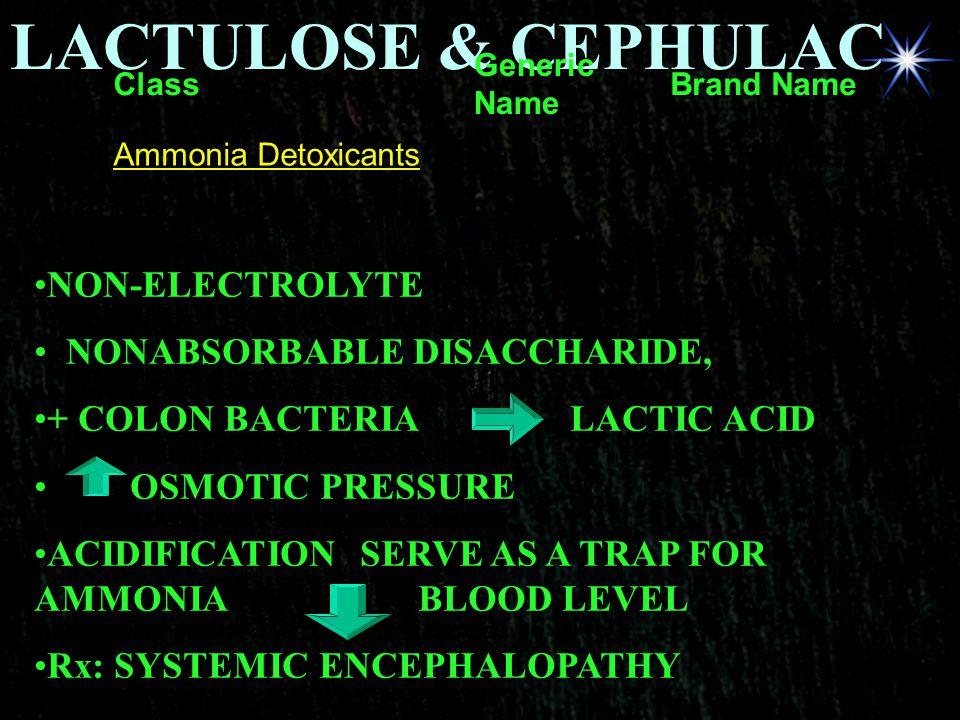 LACTULOSE & CEPHULAC NON-ELECTROLYTE NONABSORBABLE DISACCHARIDE,