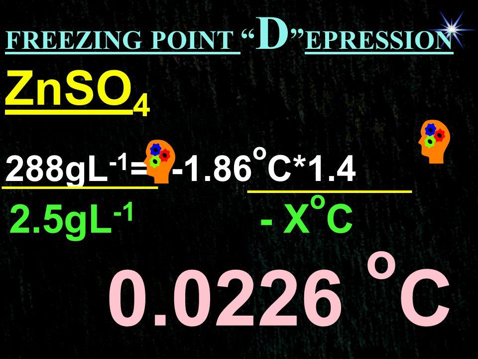 0.0226 oC ZnSO4 2.5gL-1 - XoC 288gL-1= -1.86oC*1.4