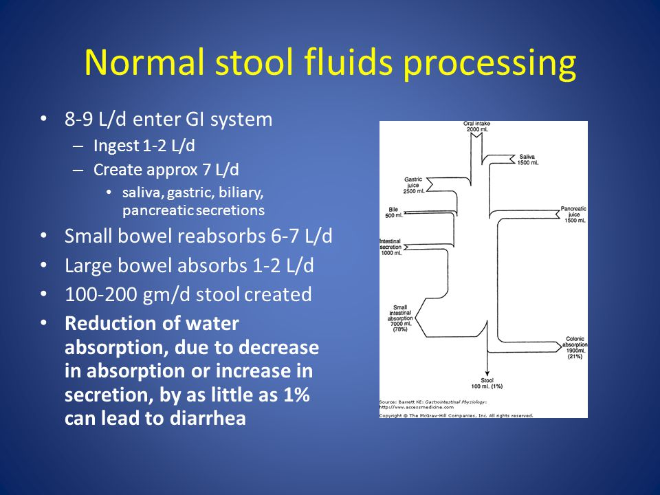 Normal stool fluids processing