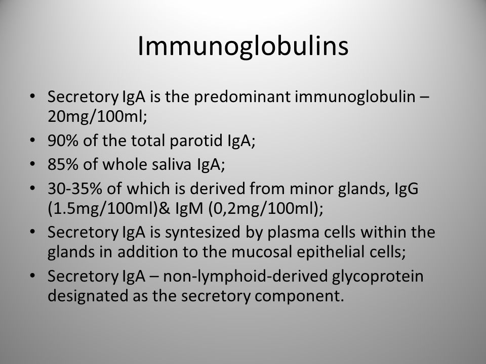 Immunoglobulins Secretory IgA is the predominant immunoglobulin – 20mg/100ml; 90% of the total parotid IgA;