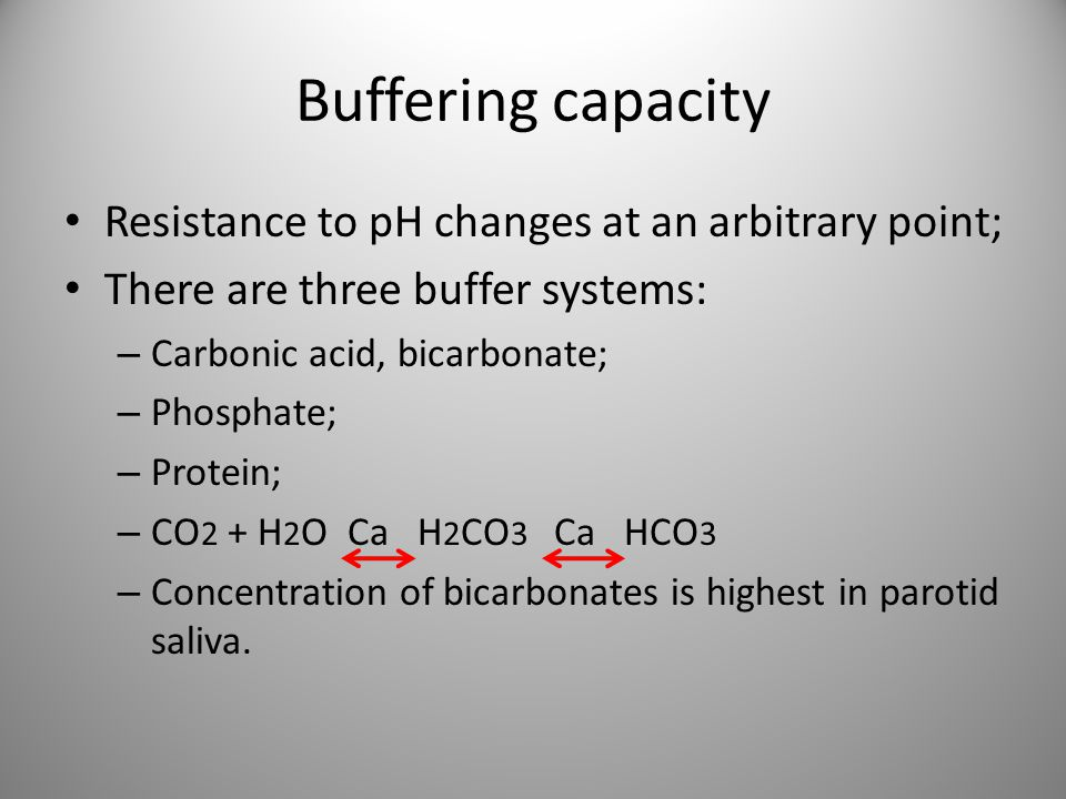 Buffering capacity Resistance to pH changes at an arbitrary point;