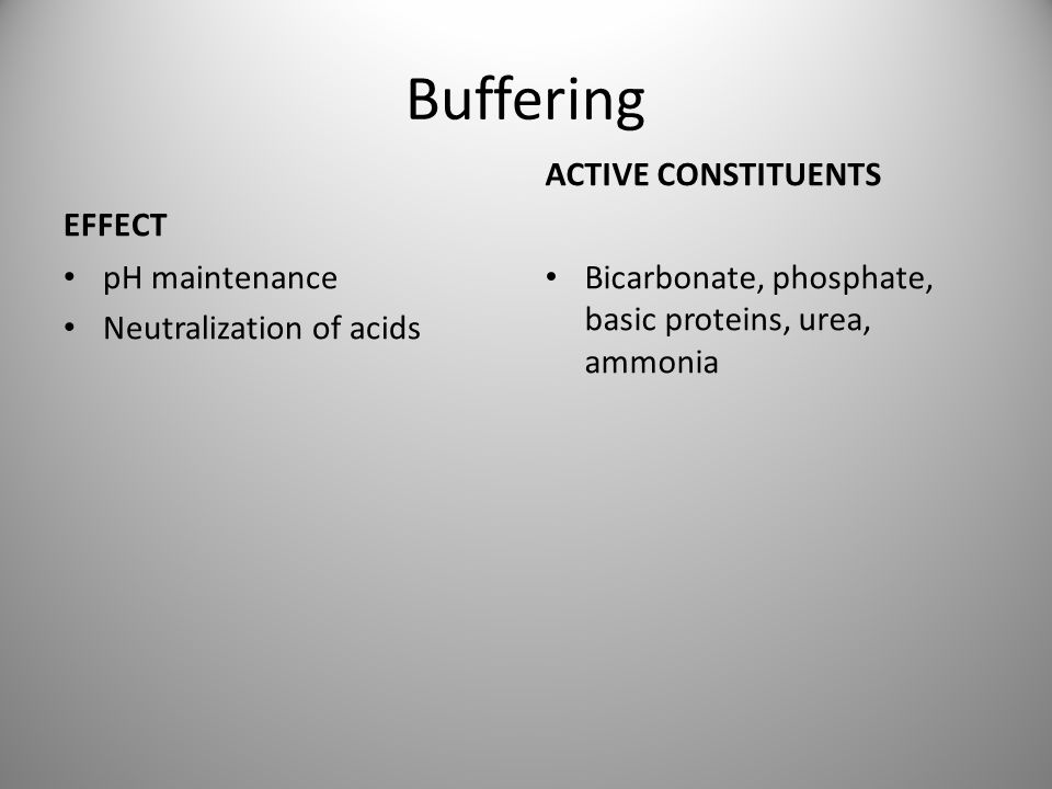 Buffering EFFECT ACTIVE CONSTITUENTS pH maintenance
