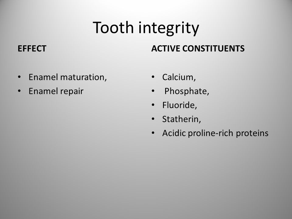 Tooth integrity EFFECT ACTIVE CONSTITUENTS Enamel maturation,