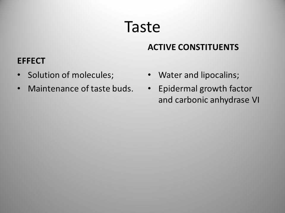 Taste EFFECT ACTIVE CONSTITUENTS Solution of molecules;