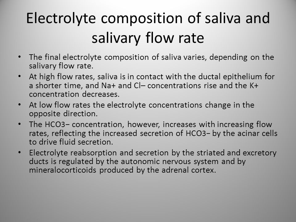 Electrolyte composition of saliva and salivary flow rate