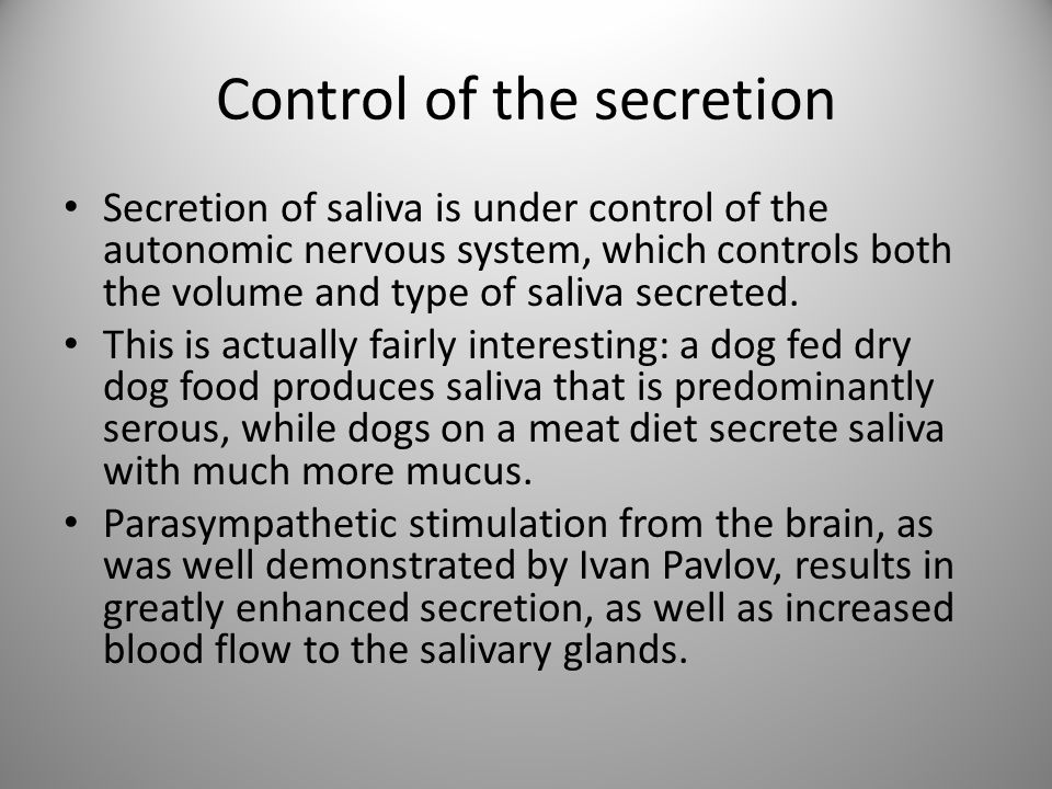 Control of the secretion