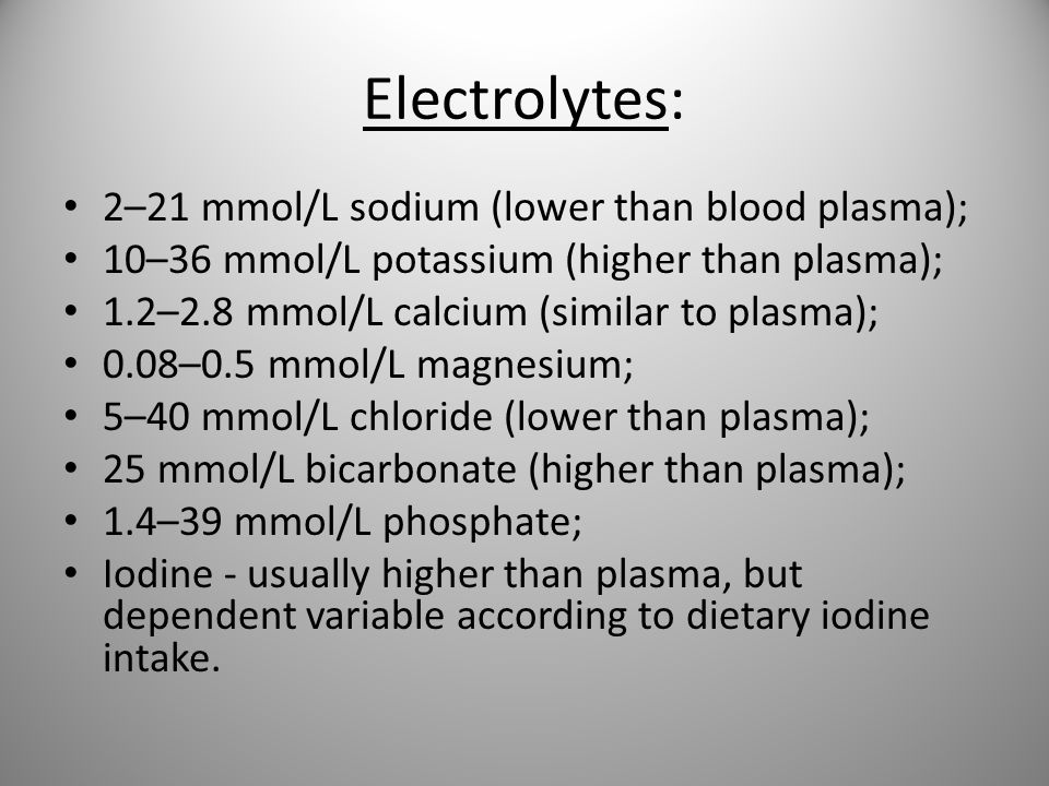 Electrolytes: 2–21 mmol/L sodium (lower than blood plasma);