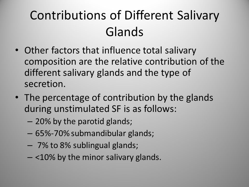 Contributions of Different Salivary Glands