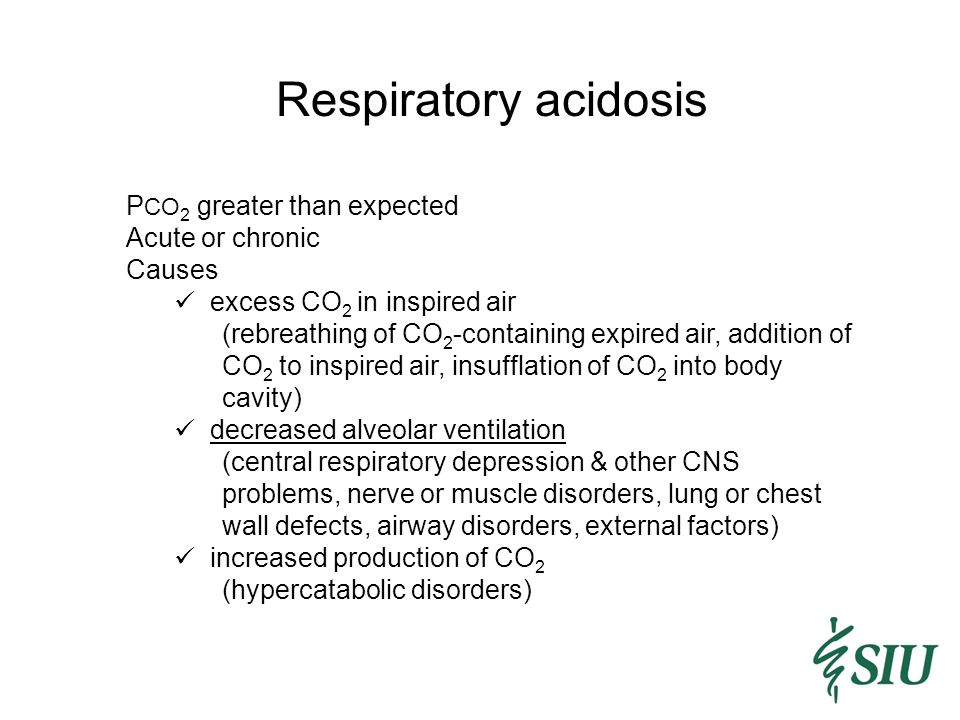 Respiratory acidosis PCO2 greater than expected Acute or chronic