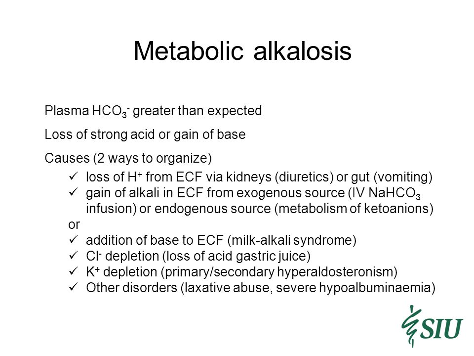 Metabolic alkalosis Plasma HCO3- greater than expected