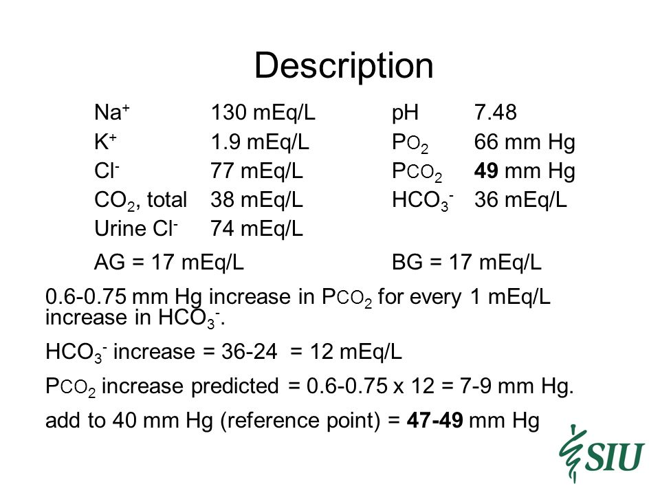 Description Na+ 130 mEq/L pH 7.48 K+ 1.9 mEq/L PO2 66 mm Hg