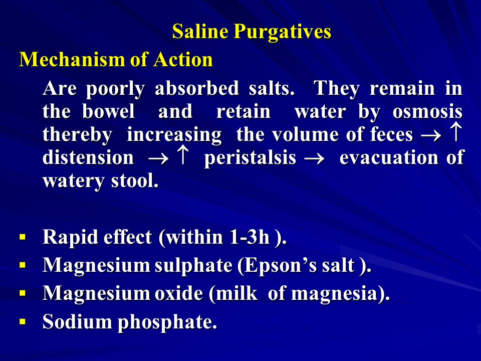 Saline Purgatives Mechanism of Action.