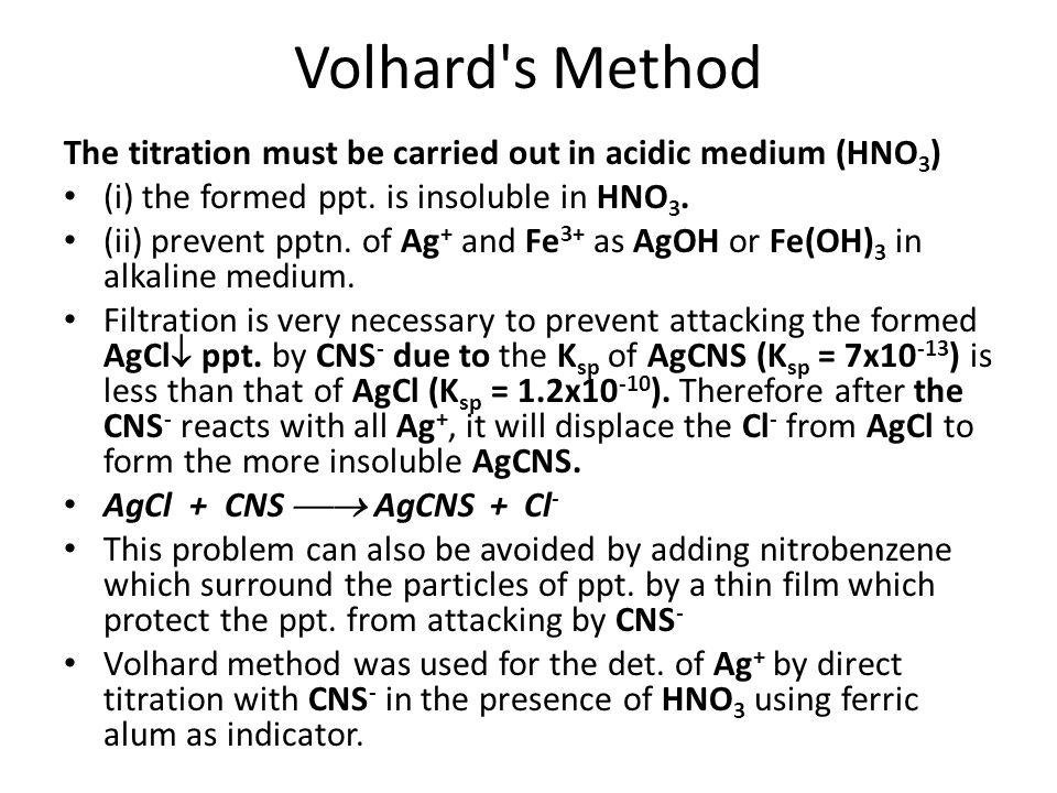 Volhard s Method The titration must be carried out in acidic medium (HNO3) (i) the formed ppt. is insoluble in HNO3.