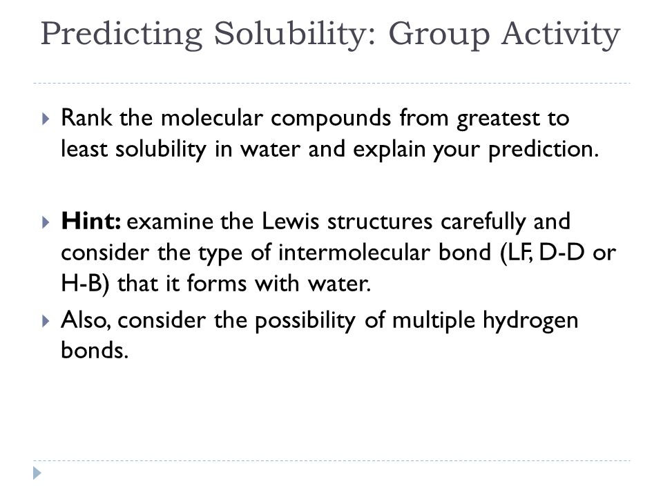 Predicting Solubility: Group Activity