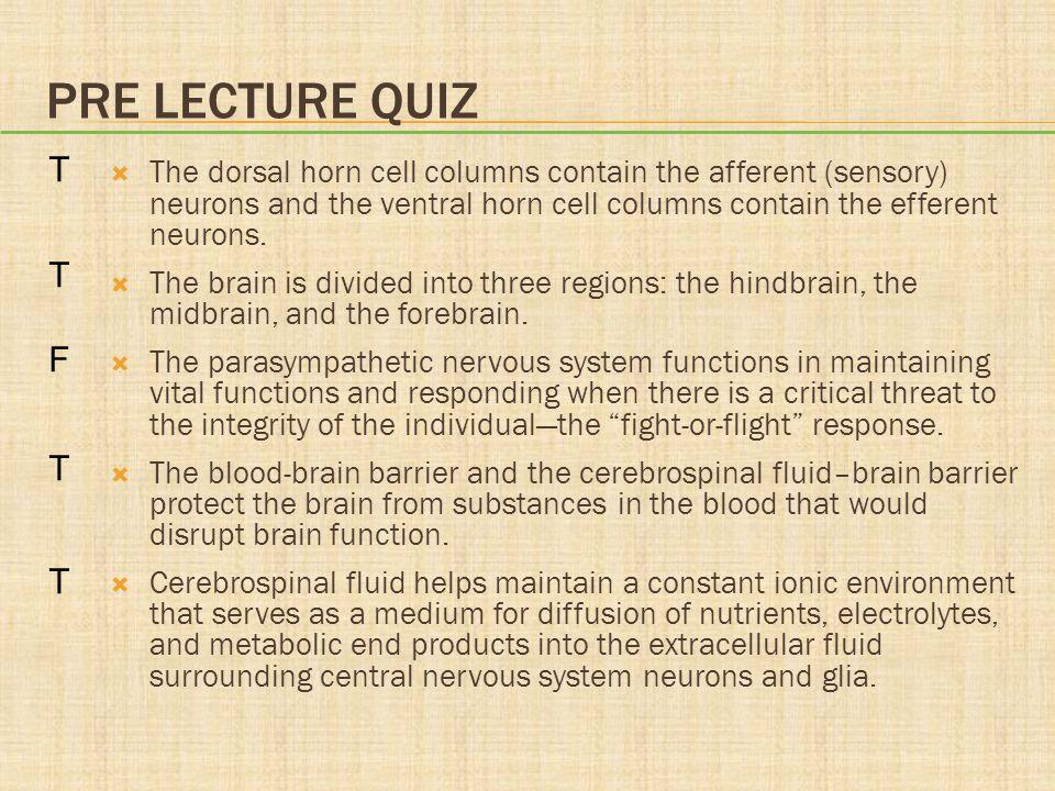 Pre lecture quiz T. F.
