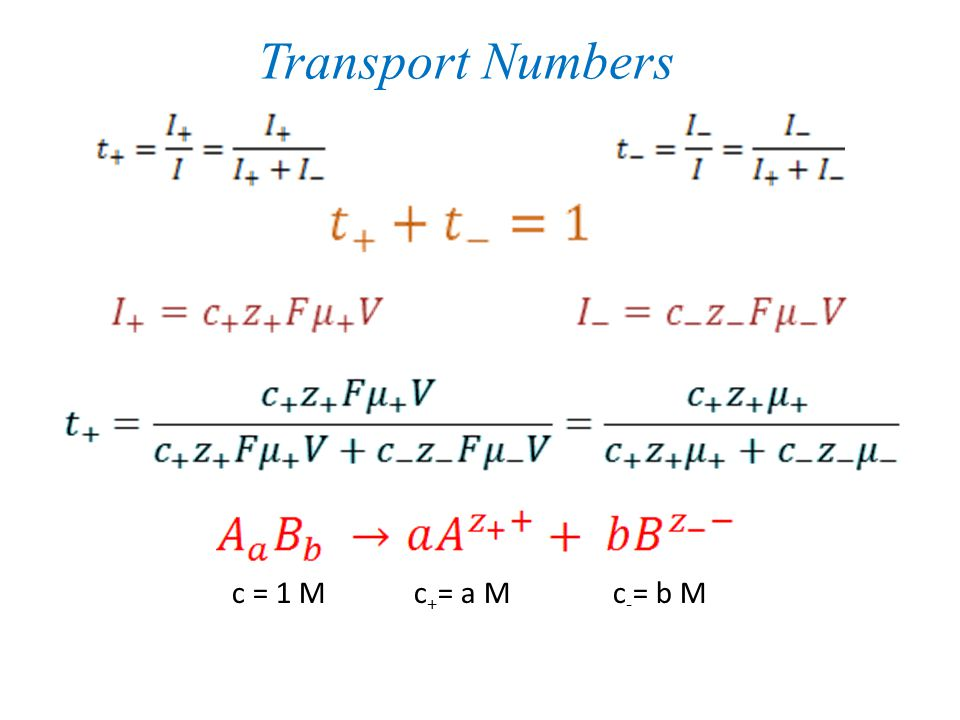 Transport Numbers c = 1 M c+= a M c-= b M