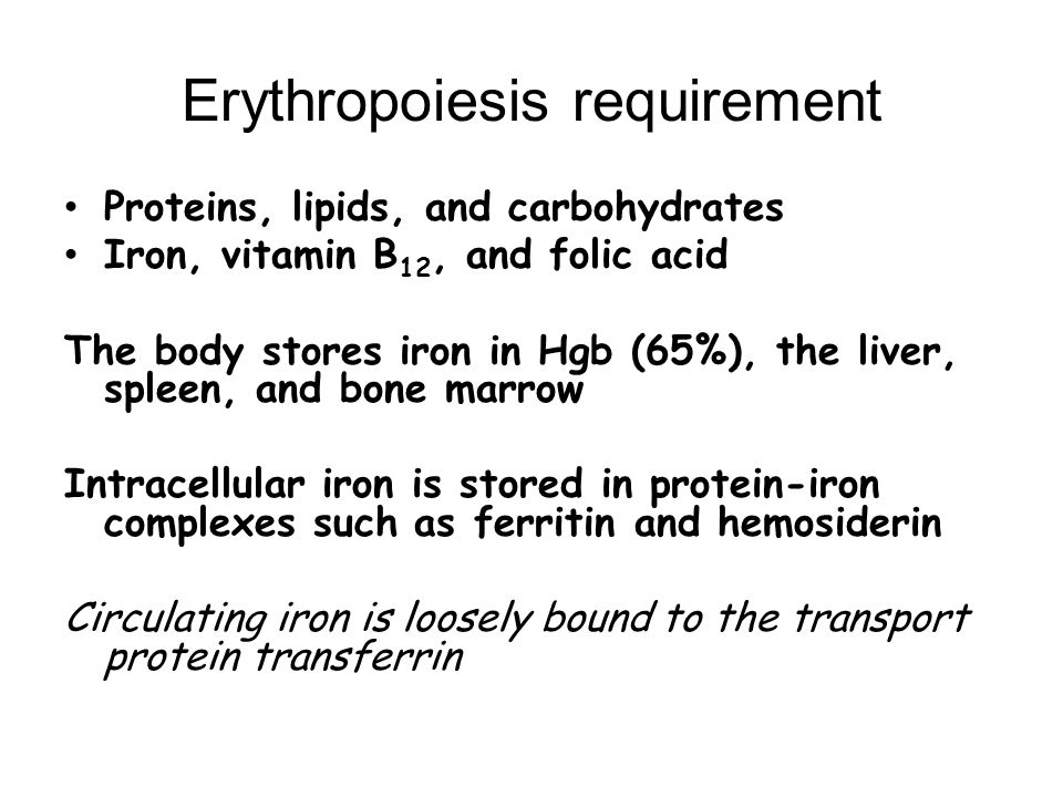 Erythropoiesis requirement