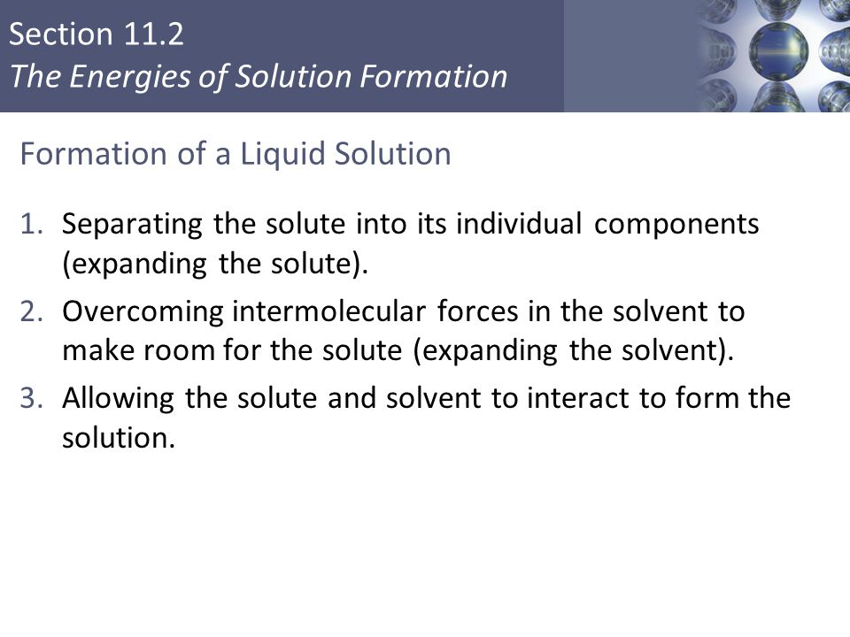 Formation of a Liquid Solution