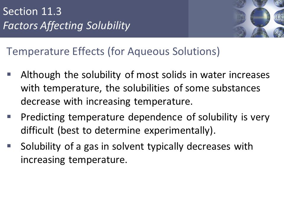 Temperature Effects (for Aqueous Solutions)