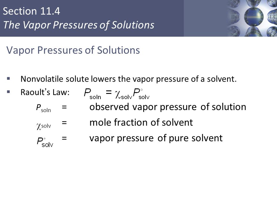 Vapor Pressures of Solutions