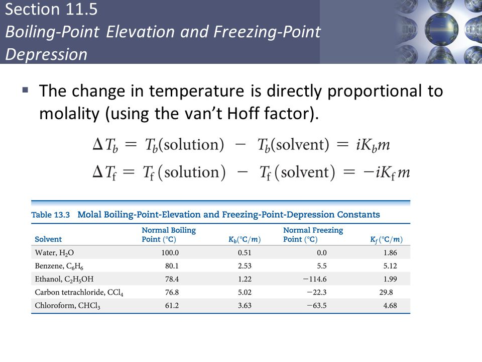The change in temperature is directly proportional to molality (using the van't Hoff factor).