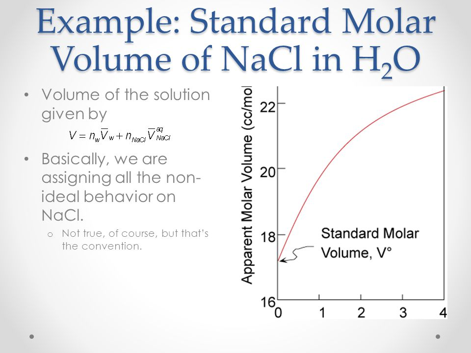 Example: Standard Molar Volume of NaCl in H2O
