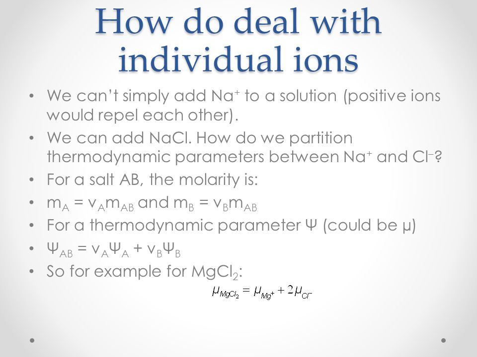 How do deal with individual ions