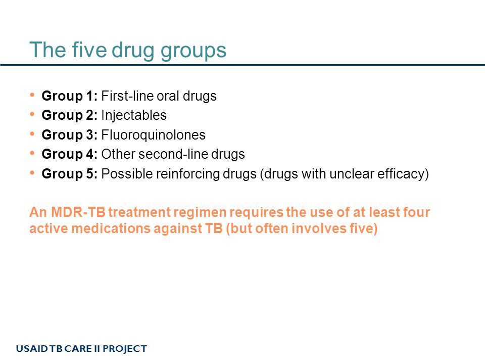 The five drug groups Group 1: First-line oral drugs
