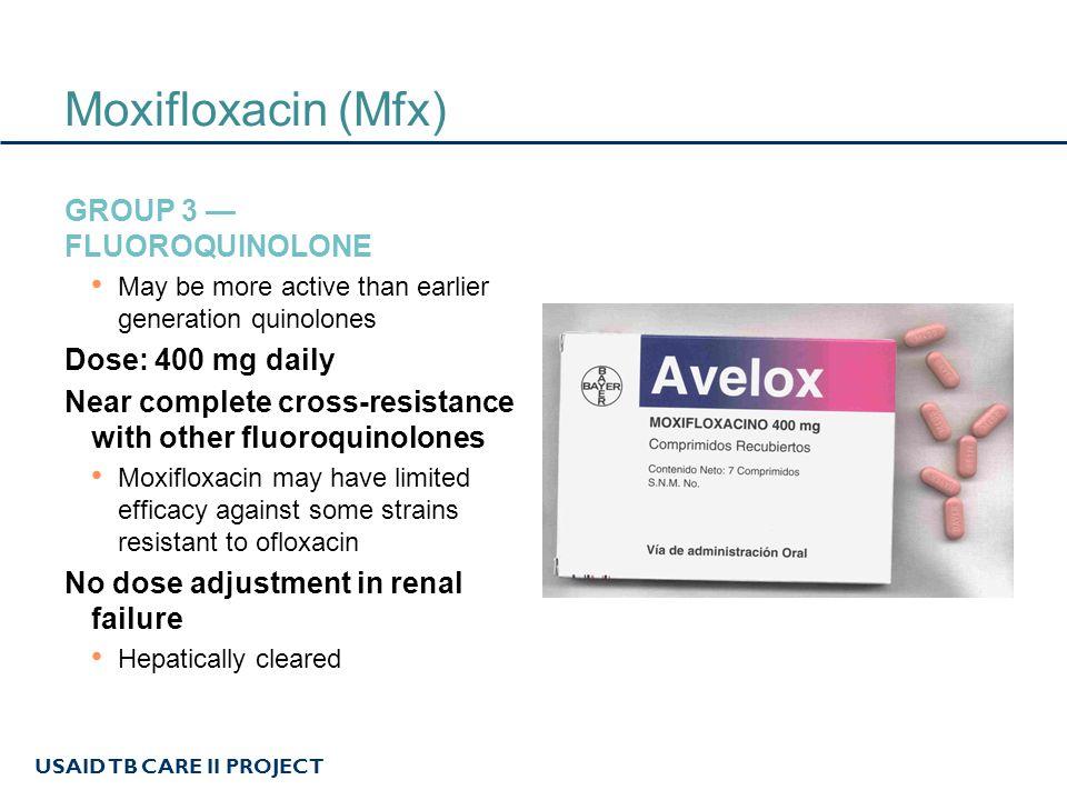Moxifloxacin (Mfx) Group 3 — Fluoroquinolone Dose: 400 mg daily
