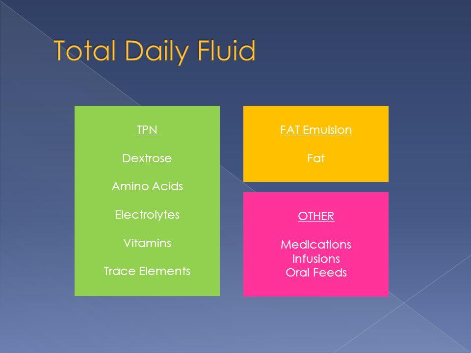 Total Daily Fluid TPN Dextrose Amino Acids Electrolytes Vitamins