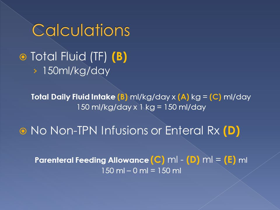Calculations Total Fluid (TF) (B)