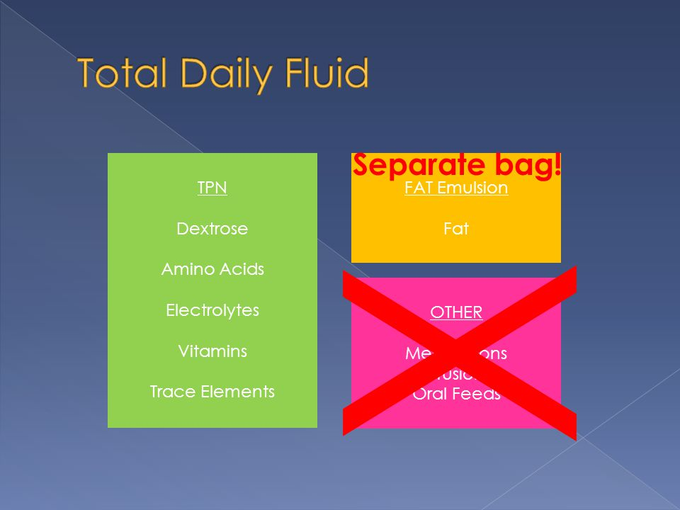 X Total Daily Fluid Separate bag! TPN Dextrose Amino Acids