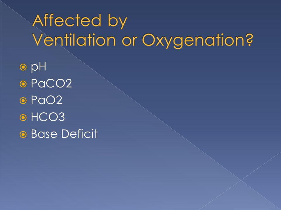Affected by Ventilation or Oxygenation