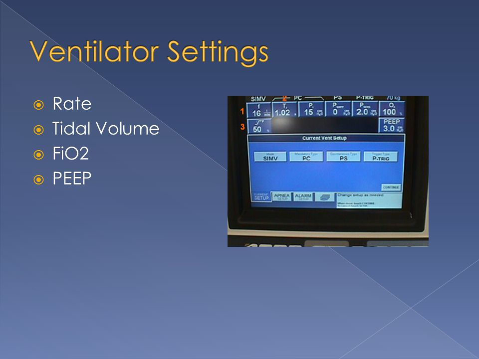 Ventilator Settings Rate Tidal Volume FiO2 PEEP