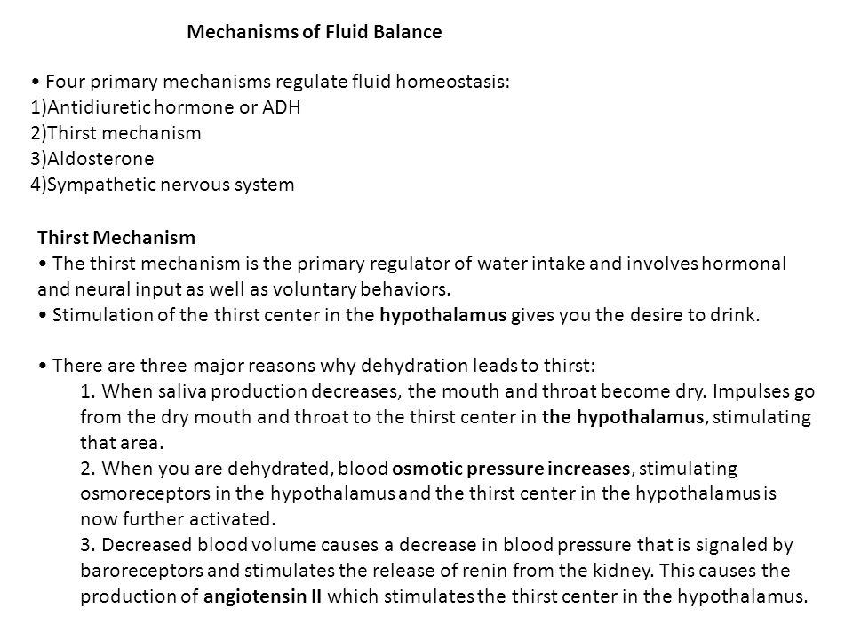 Mechanisms of Fluid Balance